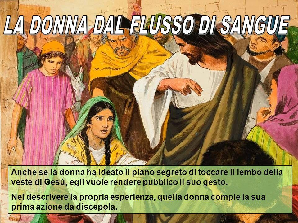 Anche se la donna ha ideato il piano segreto di toccare il lembo della veste di Gesù, egli vuole rendere pubblico il suo gesto. Nel descrivere la prop