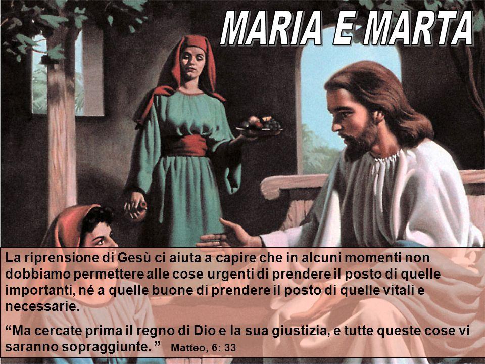 La riprensione di Gesù ci aiuta a capire che in alcuni momenti non dobbiamo permettere alle cose urgenti di prendere il posto di quelle importanti, né