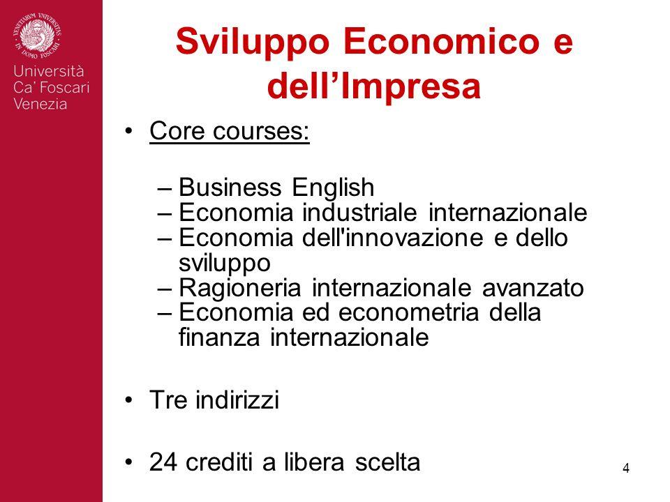 4 Sviluppo Economico e dellImpresa Core courses: –Business English –Economia industriale internazionale –Economia dell'innovazione e dello sviluppo –R