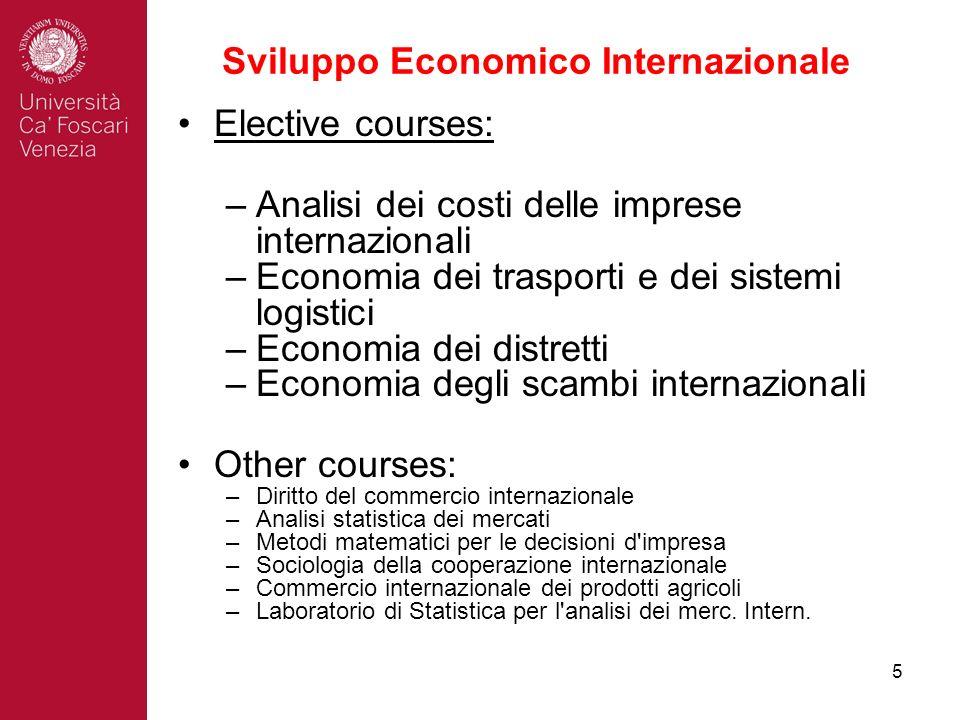 5 Sviluppo Economico Internazionale Elective courses: –Analisi dei costi delle imprese internazionali –Economia dei trasporti e dei sistemi logistici