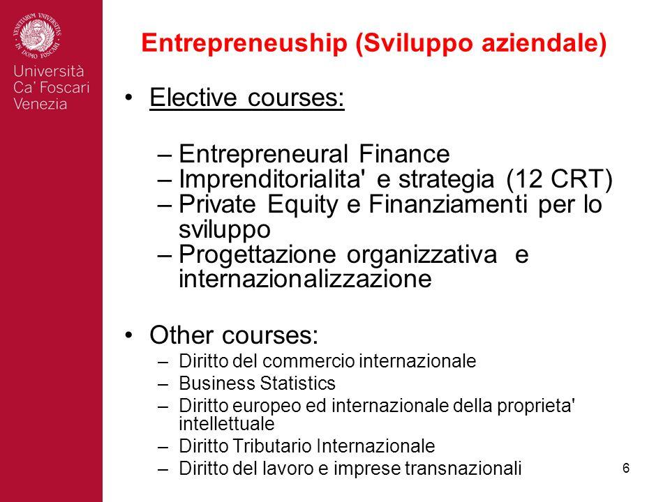 6 Entrepreneuship (Sviluppo aziendale) Elective courses: –Entrepreneural Finance –Imprenditorialita' e strategia (12 CRT) –Private Equity e Finanziame