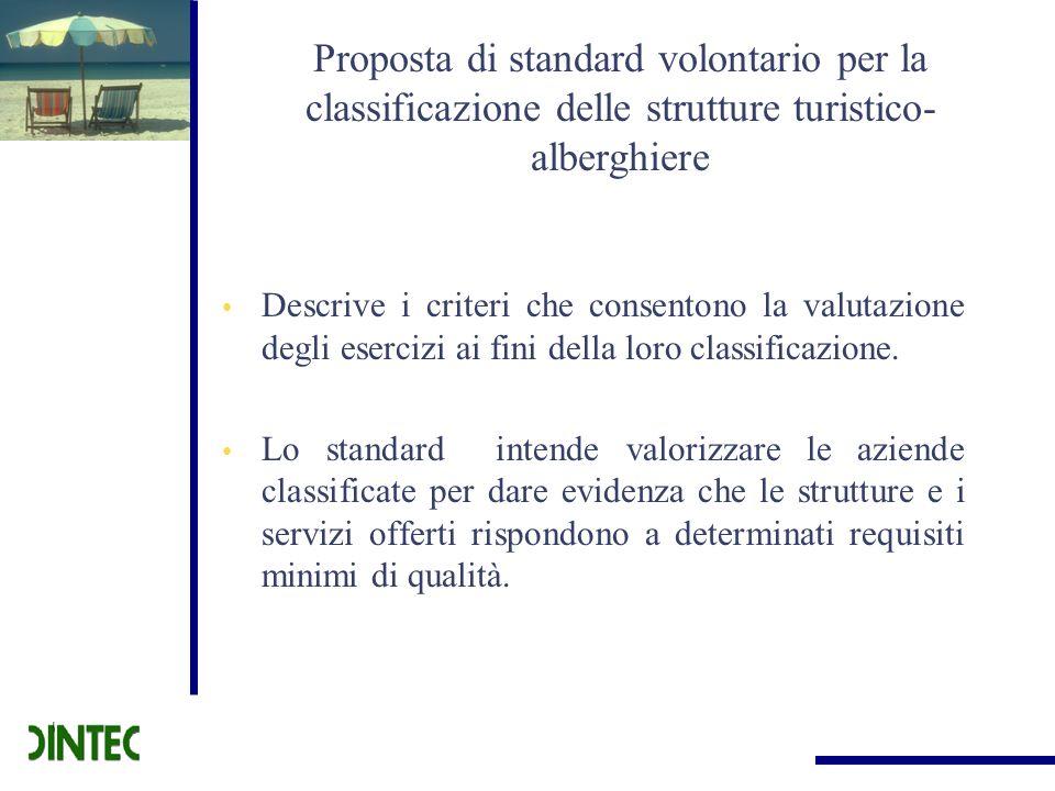 Proposta di standard volontario per la classificazione delle strutture turistico- alberghiere Descrive i criteri che consentono la valutazione degli e