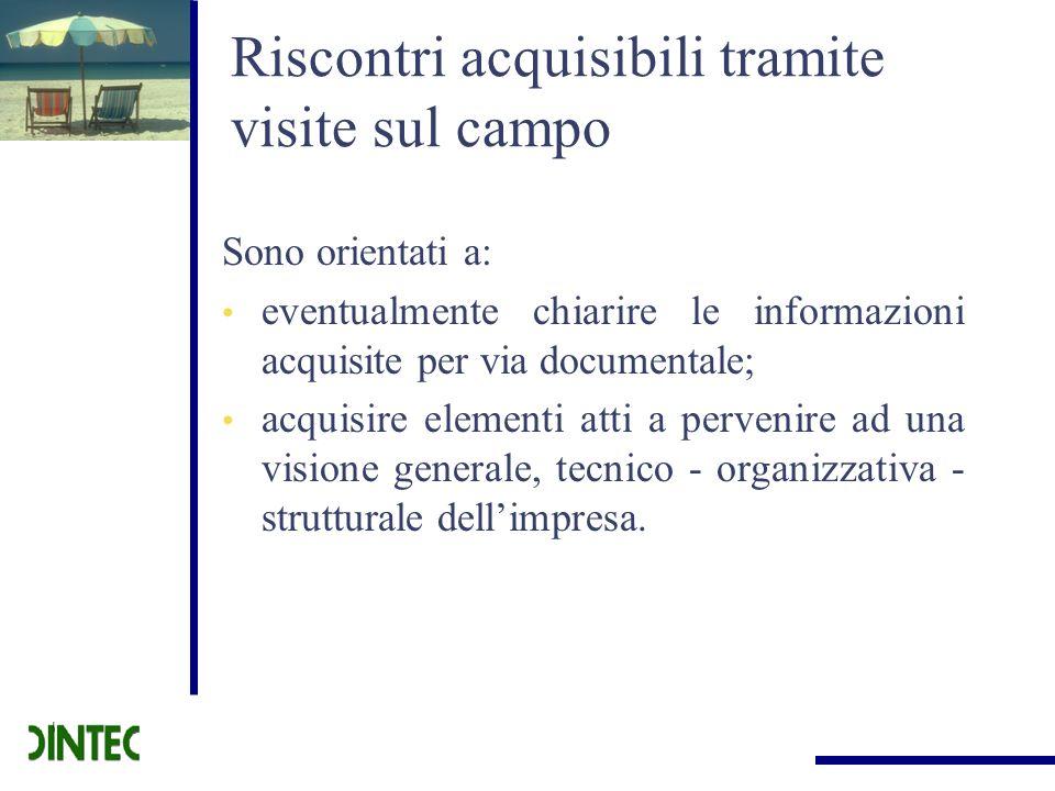 Riscontri acquisibili tramite visite sul campo Sono orientati a: eventualmente chiarire le informazioni acquisite per via documentale; acquisire eleme