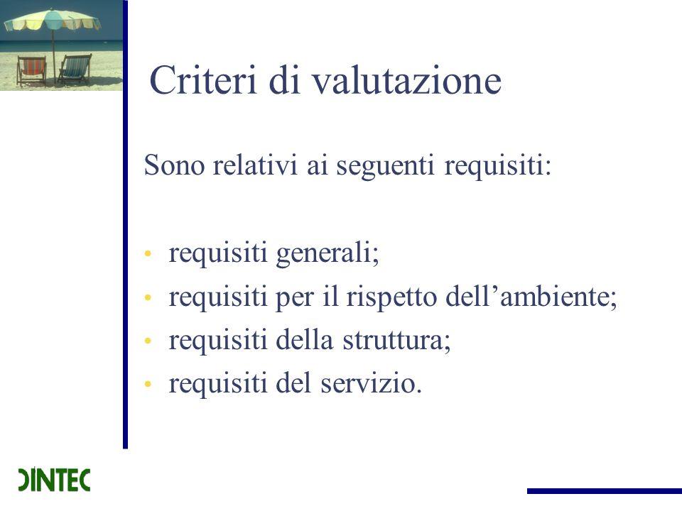 Criteri di valutazione Sono relativi ai seguenti requisiti: requisiti generali; requisiti per il rispetto dellambiente; requisiti della struttura; req