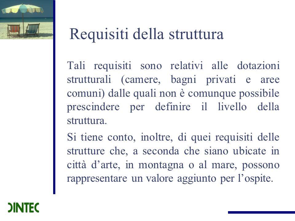 Requisiti della struttura Tali requisiti sono relativi alle dotazioni strutturali (camere, bagni privati e aree comuni) dalle quali non è comunque pos