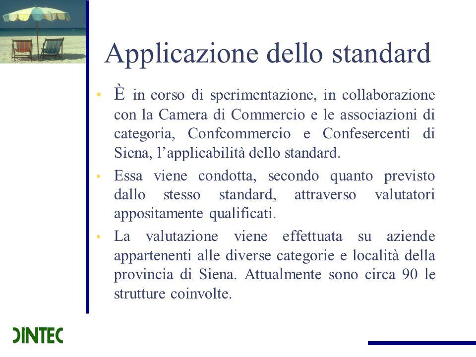 Applicazione dello standard È in corso di sperimentazione, in collaborazione con la Camera di Commercio e le associazioni di categoria, Confcommercio
