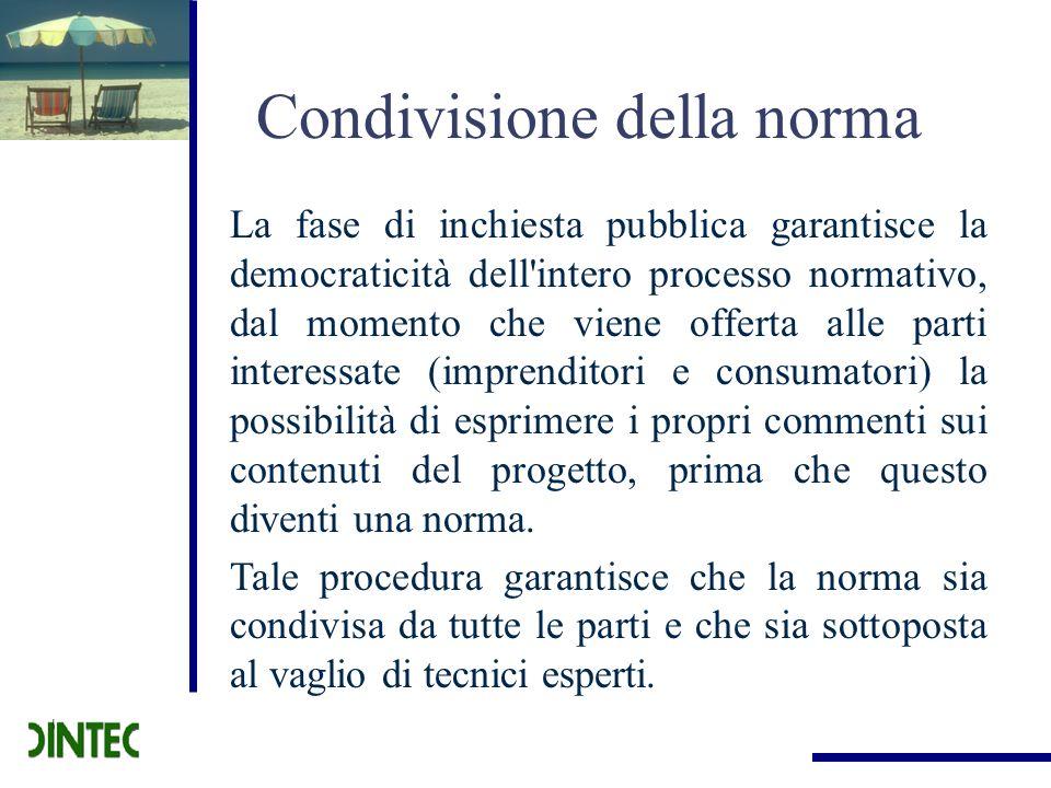 Condivisione della norma La fase di inchiesta pubblica garantisce la democraticità dell'intero processo normativo, dal momento che viene offerta alle