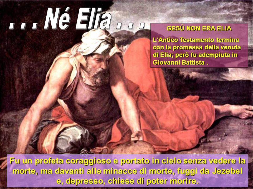 GESÙ NON ERA ELIA LAntico Testamento termina con la promessa della venuta di Elia; però fu adempiuta in Giovanni Battista.