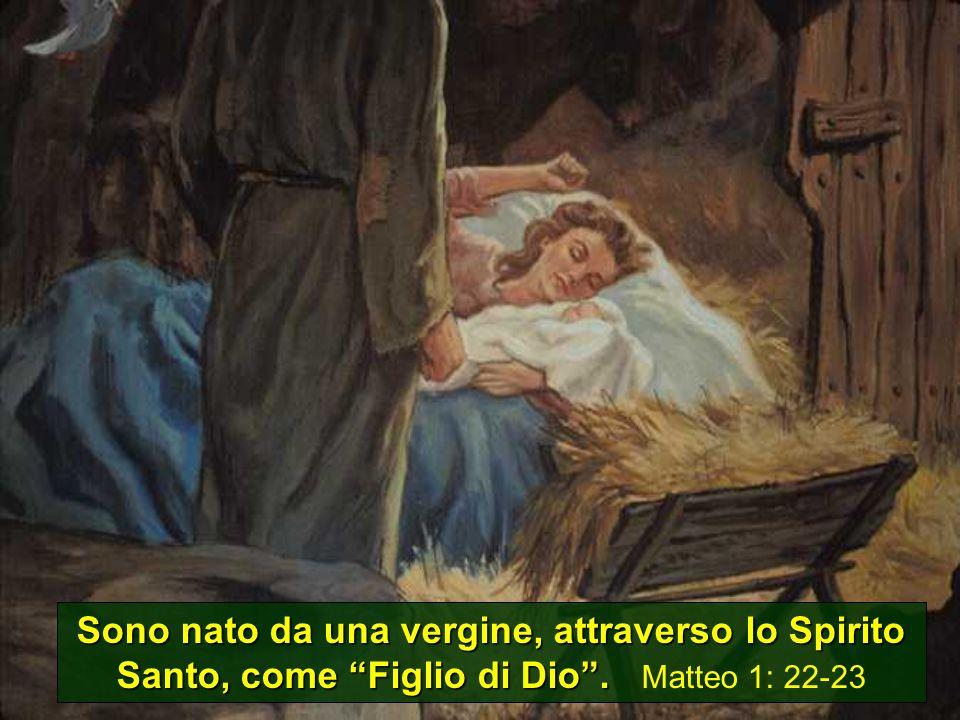 Sono nato da una vergine, attraverso lo Spirito Santo, come Figlio di Dio.