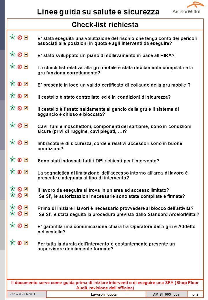 Linee guida su salute e sicurezza AM ST 003 - 007 p. 2 v.01 – 03-11-2011 Lavoro in quota Check-list richiesta E stata eseguita una valutazione del ris