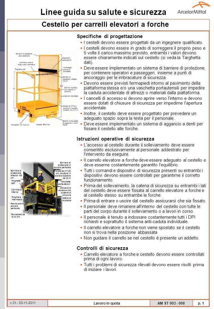 Linee guida su salute e sicurezza AM ST 003 - 008 p. 1 v.01 - 03-11-2011 Lavoro in quota Cestello per carrelli elevatori a forche Specifiche di proget