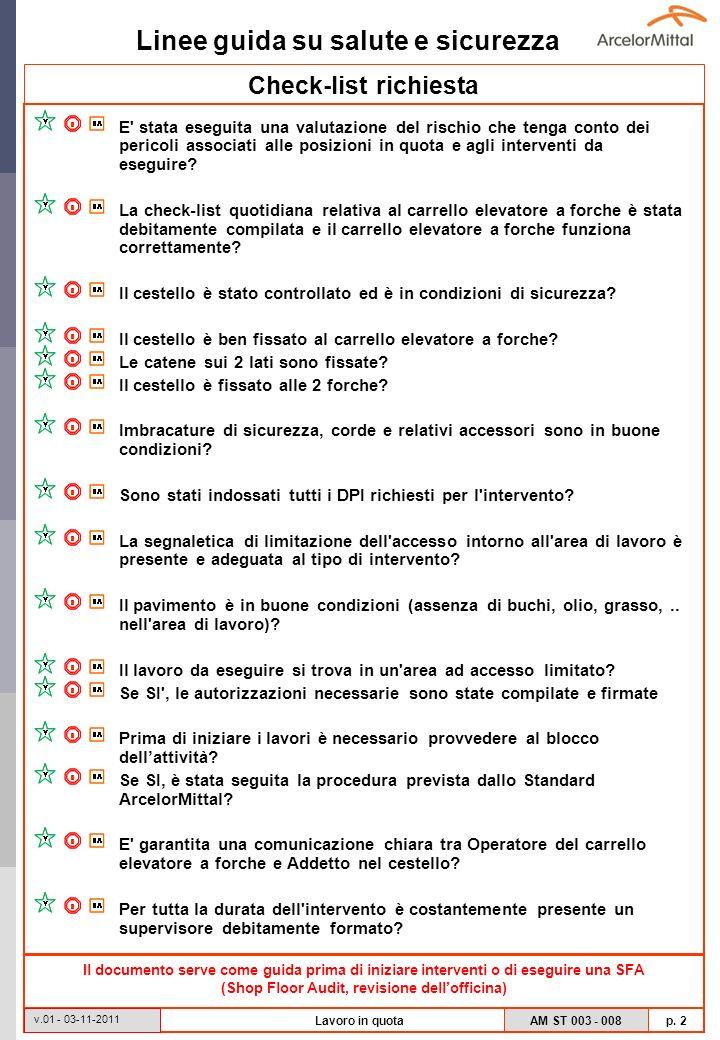 Linee guida su salute e sicurezza AM ST 003 - 008 p. 2 v.01 - 03-11-2011 Lavoro in quota Check-list richiesta E' stata eseguita una valutazione del ri