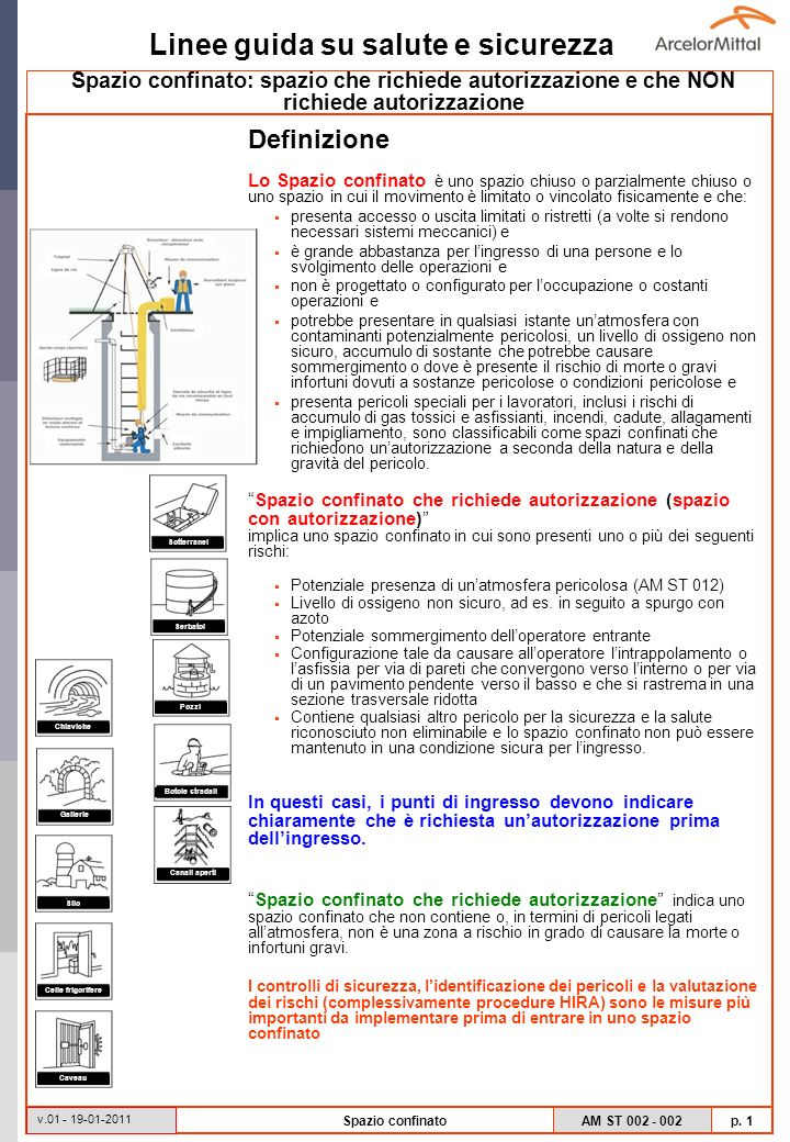 Linee guida su salute e sicurezza AM ST 002 - 002 p.