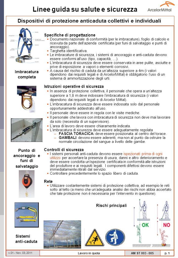Linee guida su salute e sicurezza AM ST 003 - 005 p. 1 v.01 - Nov. 03, 2011 Lavoro in quota Specifiche di progettazione Documento nazionale di conform