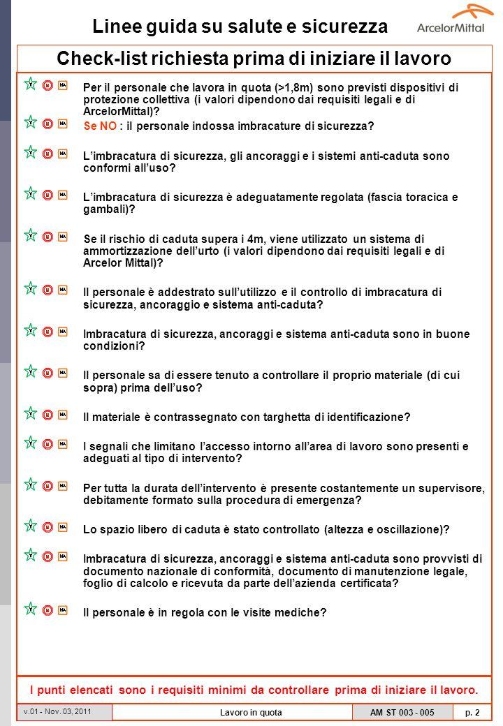 Linee guida su salute e sicurezza AM ST 003 - 005 p. 2 v.01 - Nov. 03, 2011 Lavoro in quota Check-list richiesta prima di iniziare il lavoro Per il pe