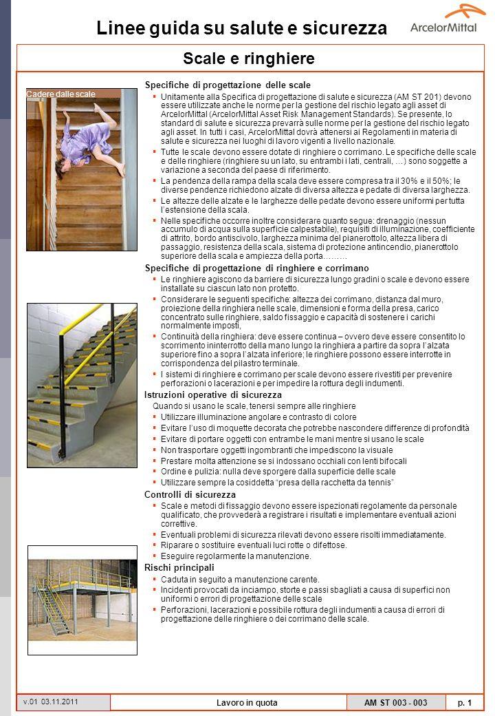 Linee guida su salute e sicurezza AM ST 003 - 003 p. 1 v.01 03.11.2011 Lavoro in quota Specifiche di progettazione delle scale Unitamente alla Specifi