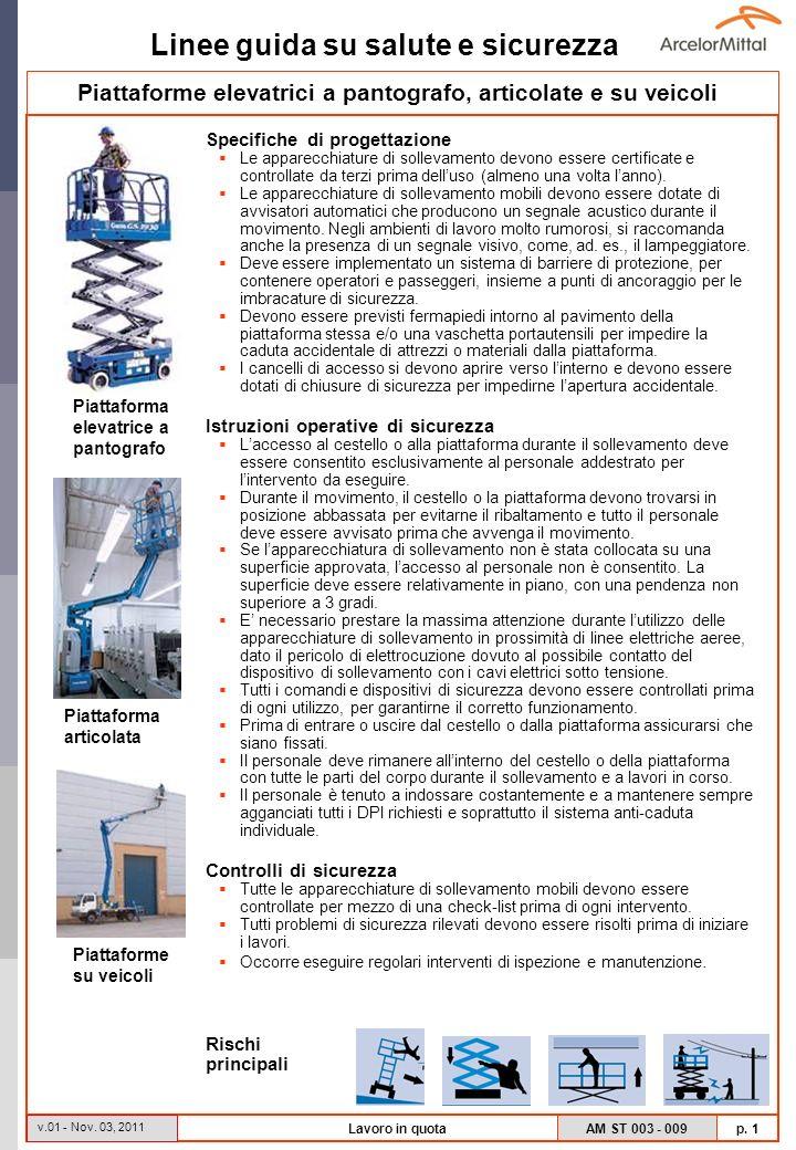 Linee guida su salute e sicurezza AM ST 003 - 009 p.