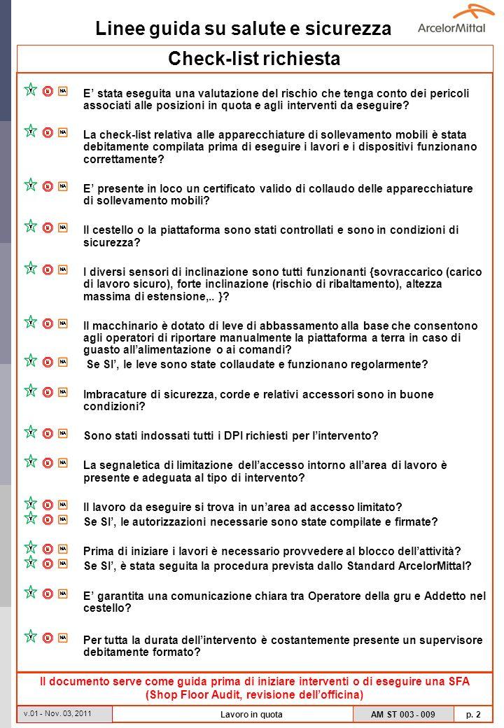 Linee guida su salute e sicurezza AM ST 003 - 009 p. 2 v.01 - Nov. 03, 2011 Lavoro in quota Check-list richiesta E stata eseguita una valutazione del