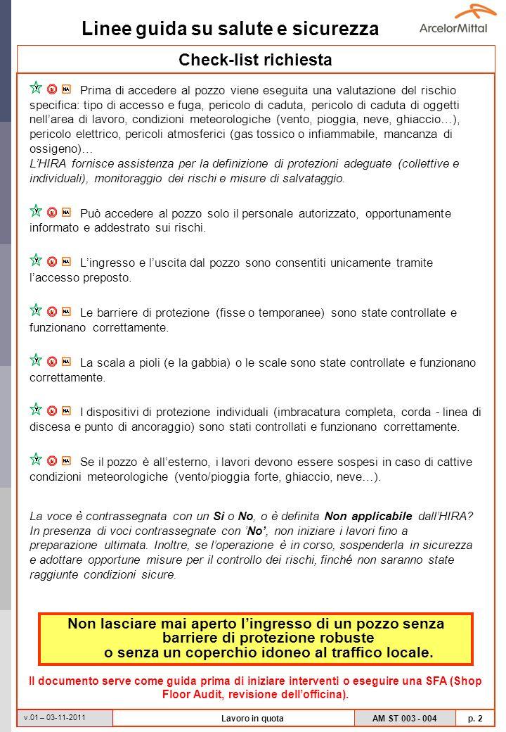 Linee guida su salute e sicurezza AM ST 003 - 004 p. 2 v.01 – 03-11-2011 Lavoro in quota Check-list richiesta Prima di accedere al pozzo viene eseguit