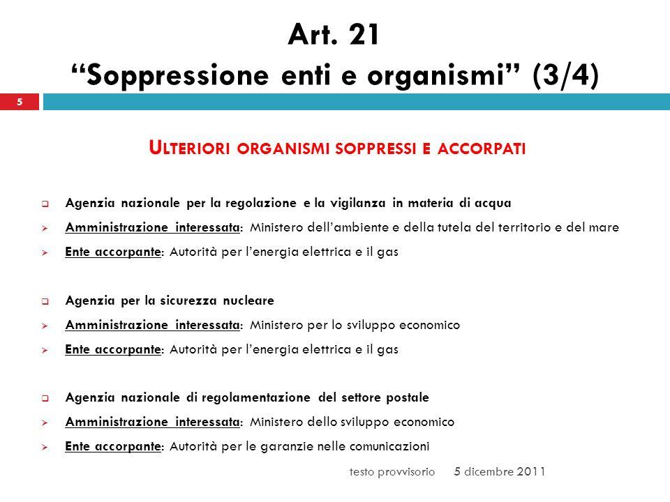 Art. 21 Soppressione enti e organismi (3/4) U LTERIORI ORGANISMI SOPPRESSI E ACCORPATI Agenzia nazionale per la regolazione e la vigilanza in materia