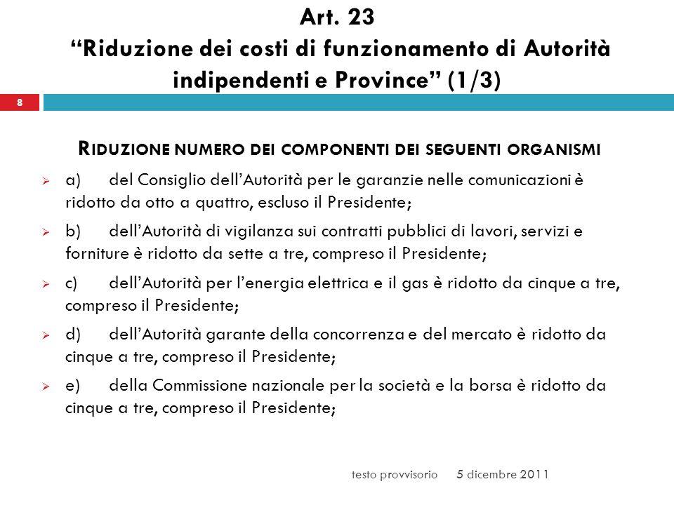 Art. 23 Riduzione dei costi di funzionamento di Autorità indipendenti e Province (1/3) R IDUZIONE NUMERO DEI COMPONENTI DEI SEGUENTI ORGANISMI a)del C