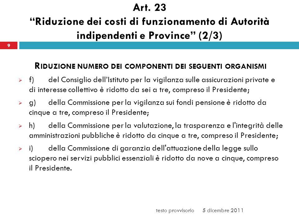 Art. 23 Riduzione dei costi di funzionamento di Autorità indipendenti e Province (2/3) R IDUZIONE NUMERO DEI COMPONENTI DEI SEGUENTI ORGANISMI f)del C