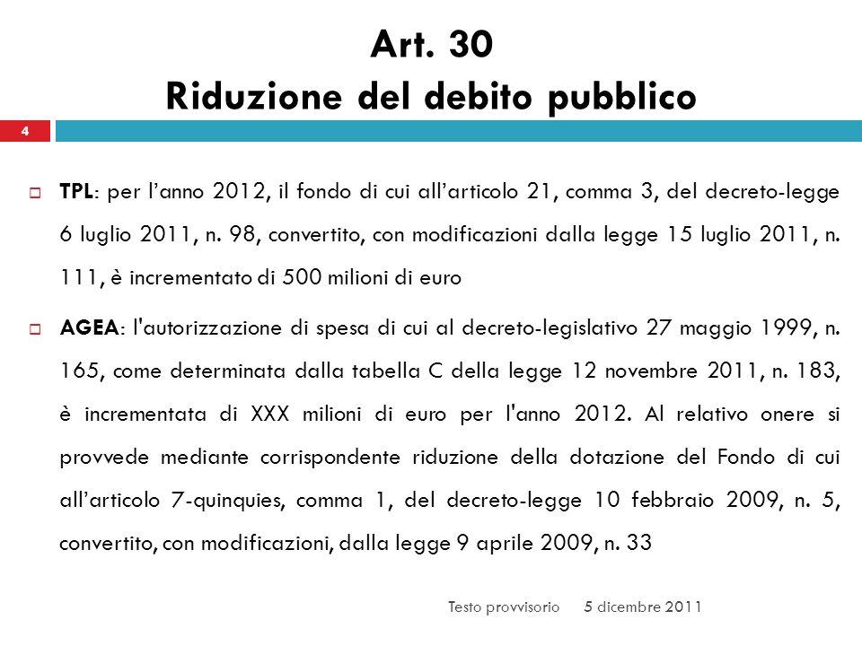 Art. 30 Riduzione del debito pubblico TPL: per lanno 2012, il fondo di cui allarticolo 21, comma 3, del decreto-legge 6 luglio 2011, n. 98, convertito