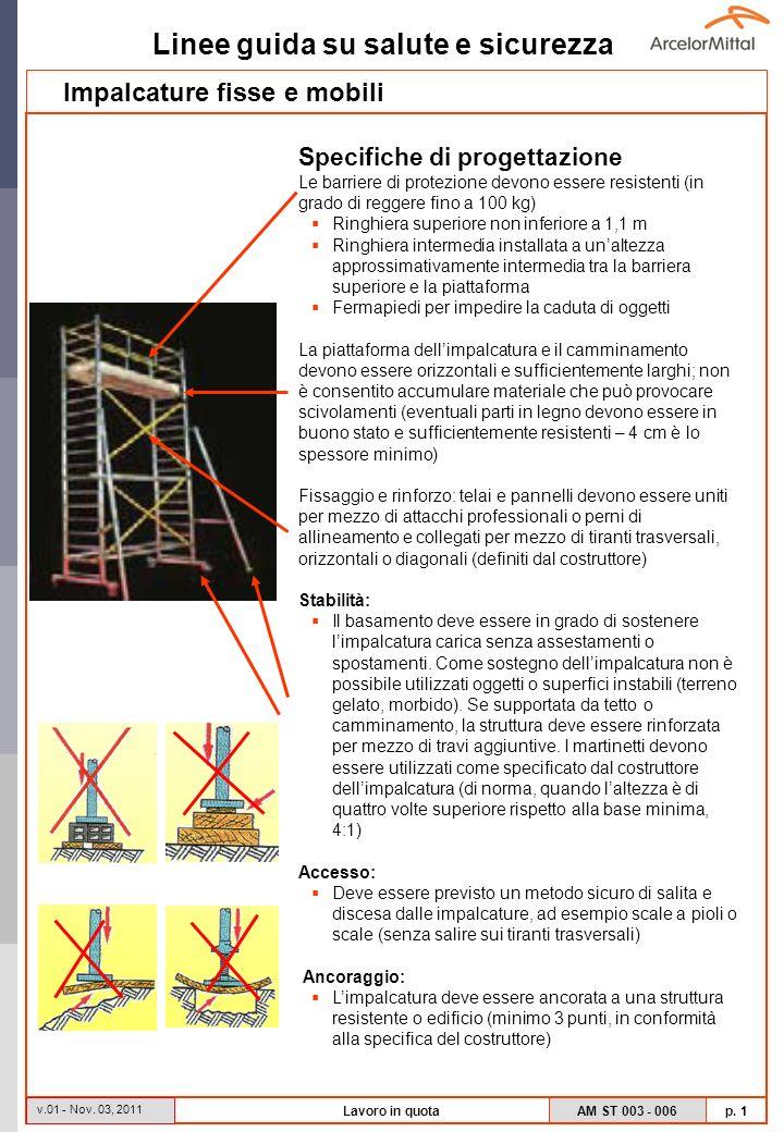 Linee guida su salute e sicurezza AM ST 003 - 006 p. 1 v.01 - Nov. 03, 2011 Lavoro in quota Specifiche di progettazione Le barriere di protezione devo
