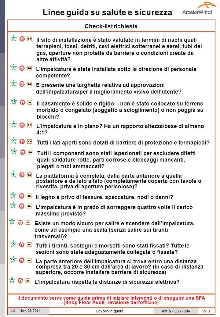 Linee guida su salute e sicurezza AM ST 003 - 006 p. 3 v.01 - Nov. 03, 2011 Lavoro in quota Check-list richiesta Il documento serve come guida prima d