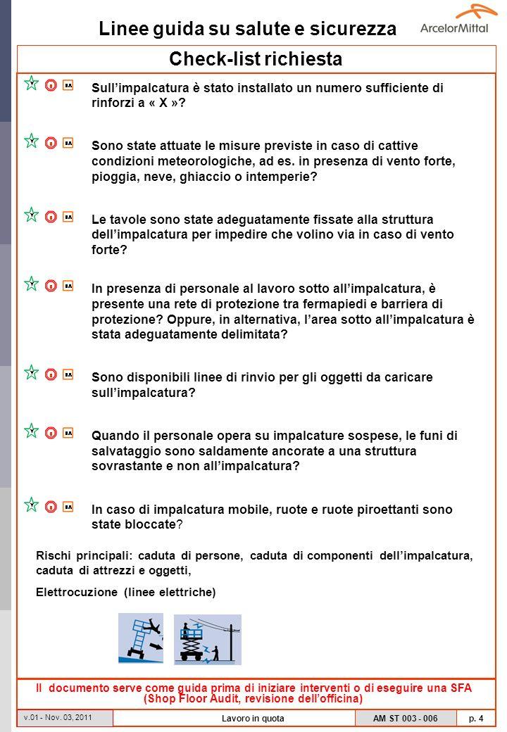Linee guida su salute e sicurezza AM ST 003 - 006 p. 4 v.01 - Nov. 03, 2011 Lavoro in quota Check-list richiesta Il documento serve come guida prima d