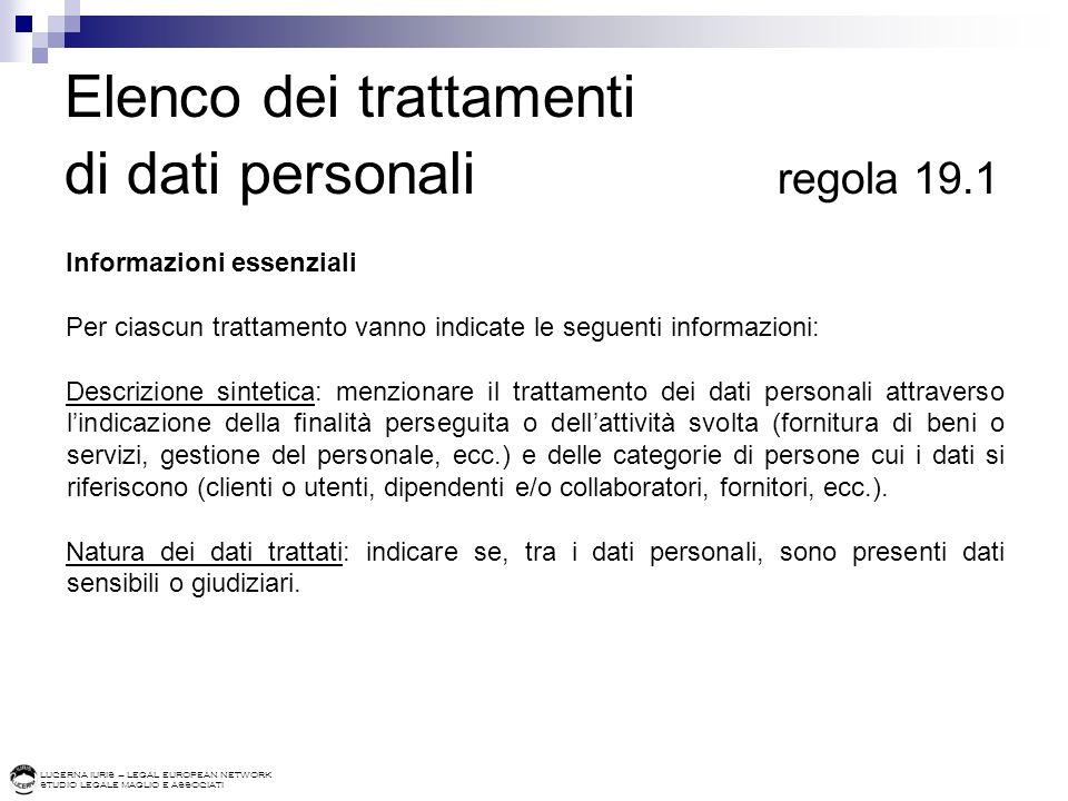 LUCERNA IURIS – LEGAL EUROPEAN NETWORK STUDIO LEGALE MAGLIO E ASSOCIATI Elenco dei trattamenti di dati personali regola 19.1 Informazioni essenziali P