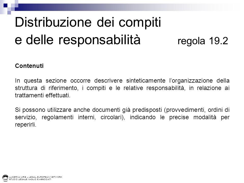 LUCERNA IURIS – LEGAL EUROPEAN NETWORK STUDIO LEGALE MAGLIO E ASSOCIATI Distribuzione dei compiti e delle responsabilità regola 19.2 Contenuti In ques