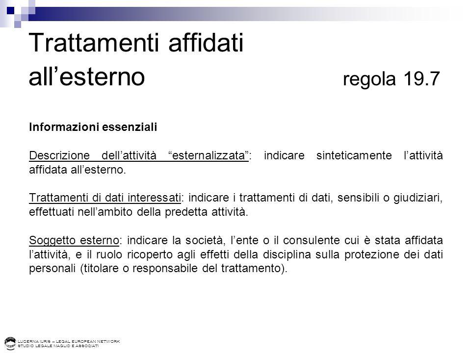 LUCERNA IURIS – LEGAL EUROPEAN NETWORK STUDIO LEGALE MAGLIO E ASSOCIATI Trattamenti affidati allesterno regola 19.7 Informazioni essenziali Descrizion