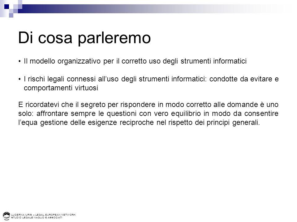 LUCERNA IURIS – LEGAL EUROPEAN NETWORK STUDIO LEGALE MAGLIO E ASSOCIATI Di cosa parleremo Il modello organizzativo per il corretto uso degli strumenti