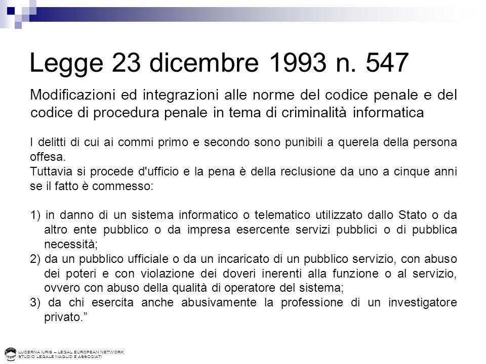 LUCERNA IURIS – LEGAL EUROPEAN NETWORK STUDIO LEGALE MAGLIO E ASSOCIATI Legge 23 dicembre 1993 n. 547 Modificazioni ed integrazioni alle norme del cod