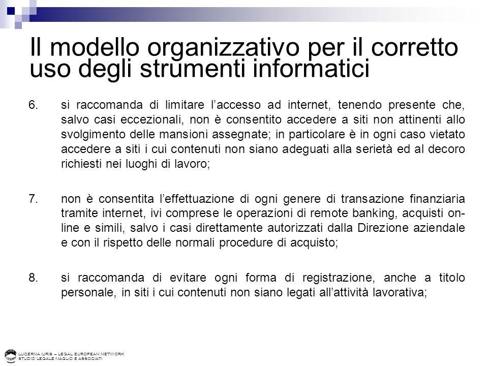 LUCERNA IURIS – LEGAL EUROPEAN NETWORK STUDIO LEGALE MAGLIO E ASSOCIATI Il modello organizzativo per il corretto uso degli strumenti informatici 6.si