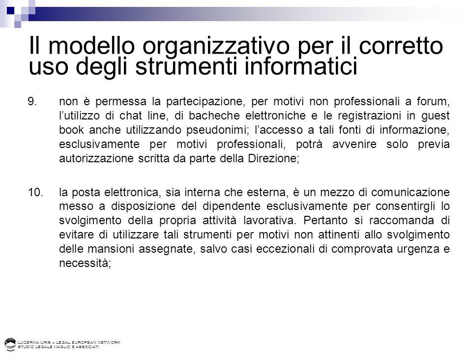 LUCERNA IURIS – LEGAL EUROPEAN NETWORK STUDIO LEGALE MAGLIO E ASSOCIATI Il modello organizzativo per il corretto uso degli strumenti informatici 9.non