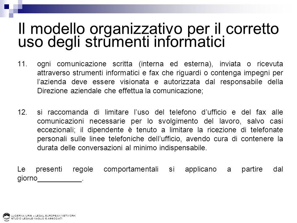 LUCERNA IURIS – LEGAL EUROPEAN NETWORK STUDIO LEGALE MAGLIO E ASSOCIATI Il modello organizzativo per il corretto uso degli strumenti informatici 11.og