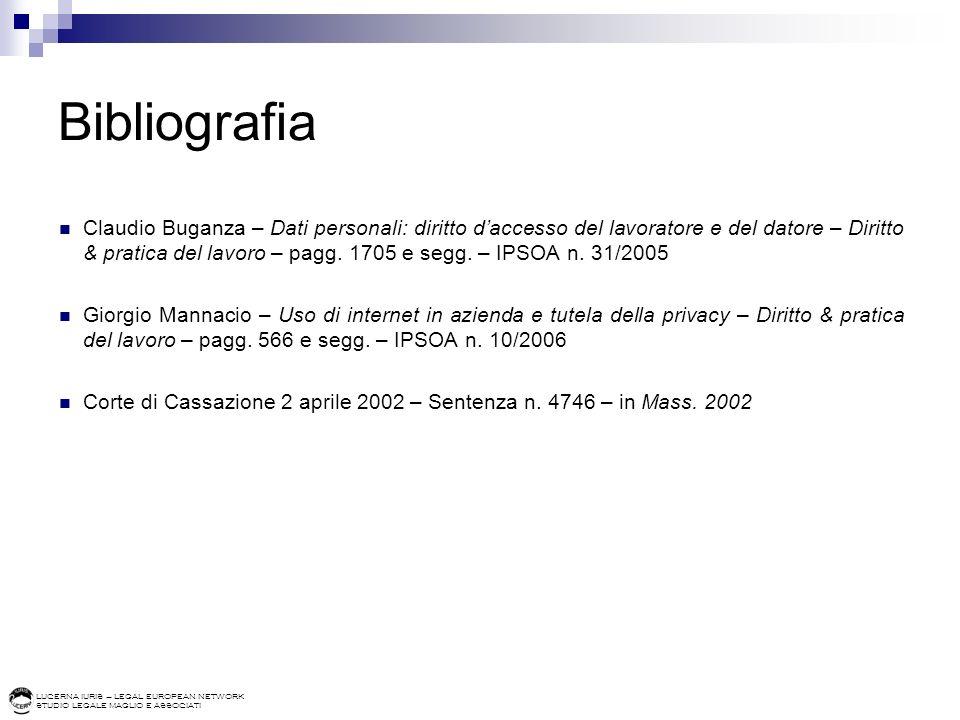 LUCERNA IURIS – LEGAL EUROPEAN NETWORK STUDIO LEGALE MAGLIO E ASSOCIATI Bibliografia Claudio Buganza – Dati personali: diritto daccesso del lavoratore