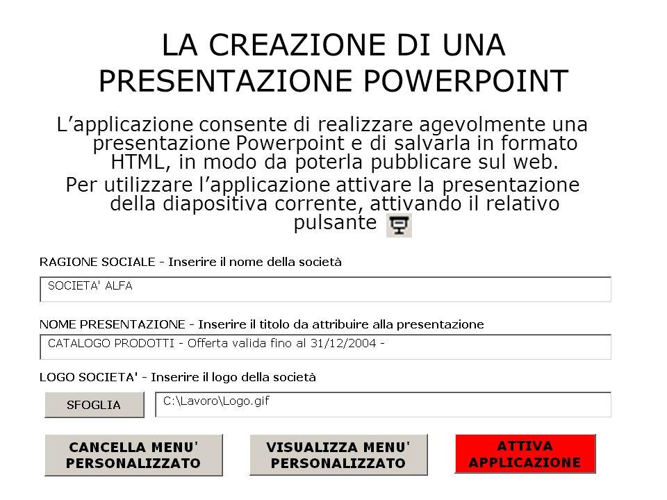 LA CREAZIONE DI UNA PRESENTAZIONE POWERPOINT Lapplicazione consente di realizzare agevolmente una presentazione Powerpoint e di salvarla in formato HTML, in modo da poterla pubblicare sul web.