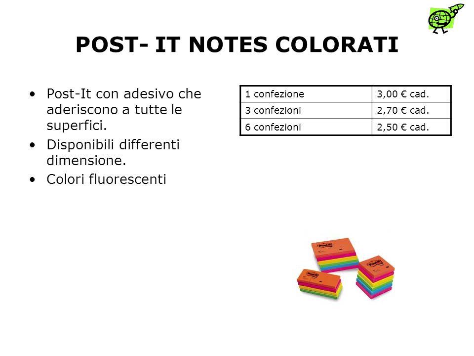 POST- IT NOTES COLORATI Post-It con adesivo che aderiscono a tutte le superfici.