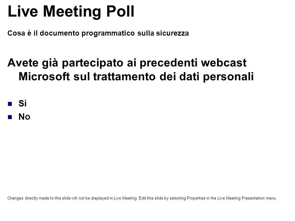 Cosa è il documento programmatico sulla sicurezza Avete già partecipato ai precedenti webcast Microsoft sul trattamento dei dati personali Sì No Live Meeting Poll Changes directly made to this slide will not be displayed in Live Meeting.