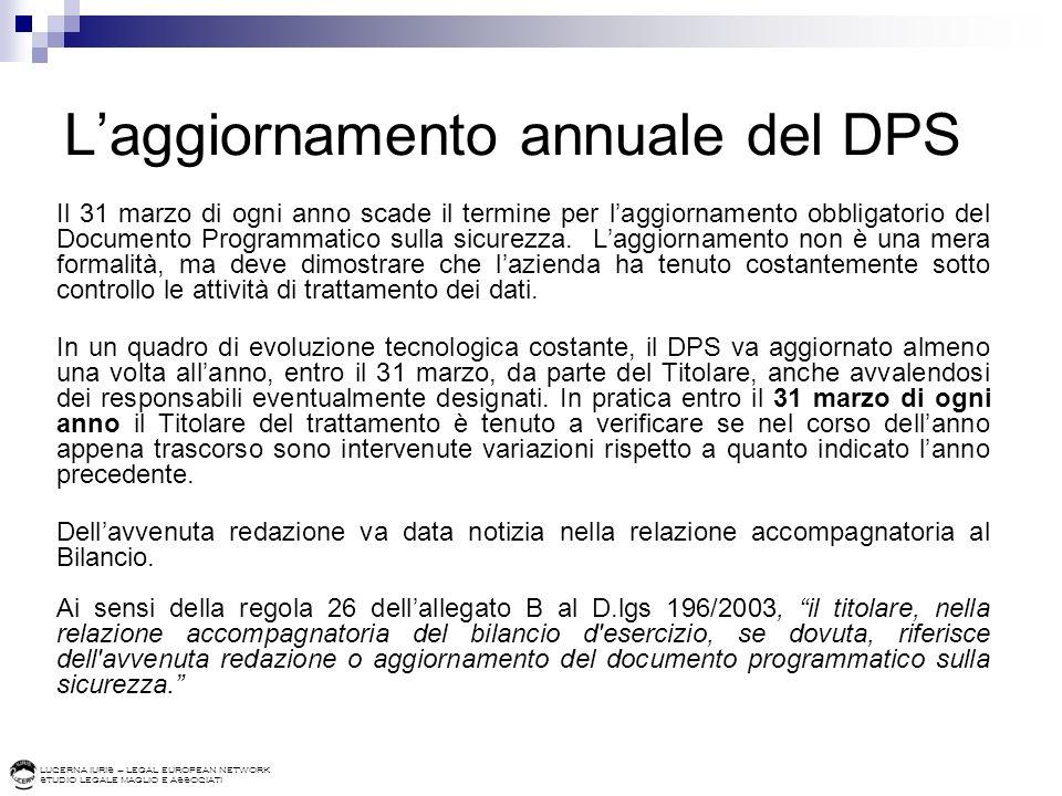 LUCERNA IURIS – LEGAL EUROPEAN NETWORK STUDIO LEGALE MAGLIO E ASSOCIATI Laggiornamento annuale del DPS Il 31 marzo di ogni anno scade il termine per laggiornamento obbligatorio del Documento Programmatico sulla sicurezza.