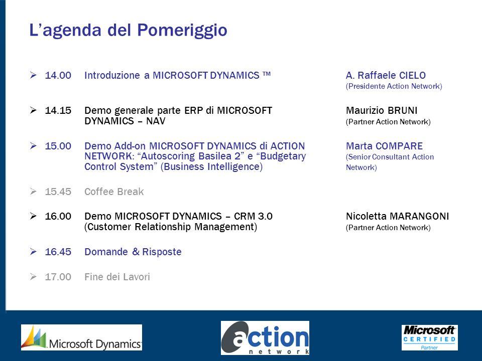 Lagenda del Pomeriggio 14.00Introduzione a MICROSOFT DYNAMICS A. Raffaele CIELO (Presidente Action Network) 14.15Demo generale parte ERP di MICROSOFT