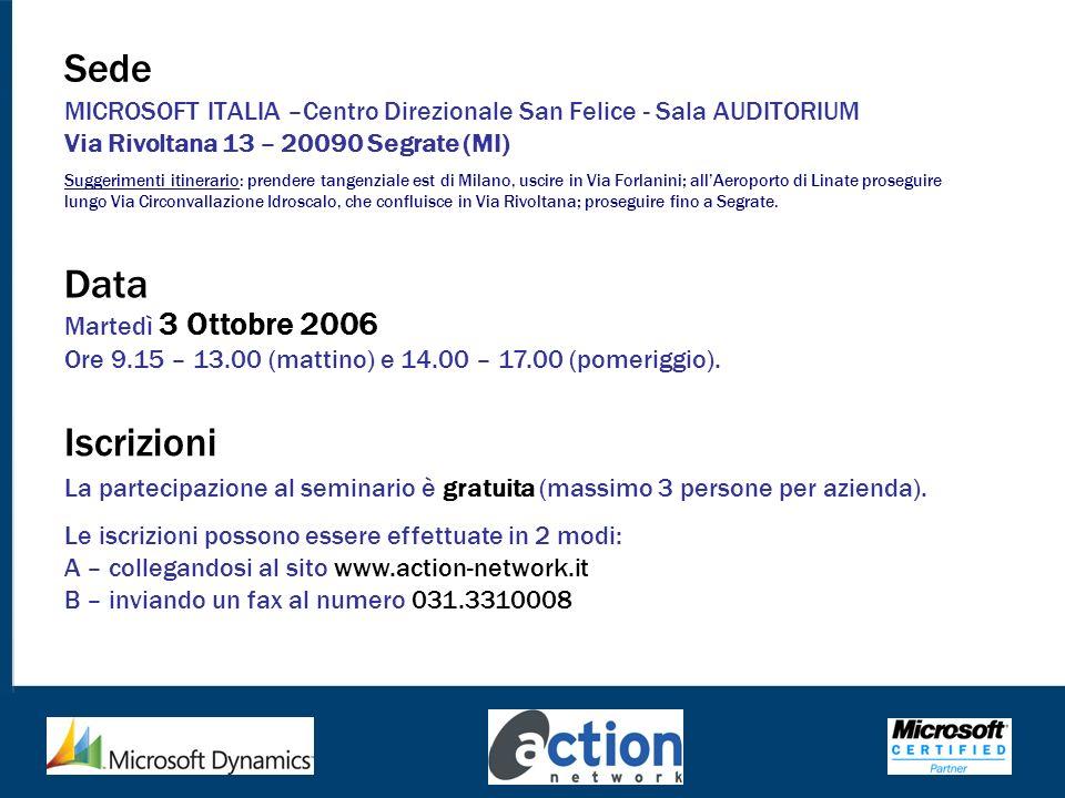 Sede MICROSOFT ITALIA –Centro Direzionale San Felice - Sala AUDITORIUM Via Rivoltana 13 – 20090 Segrate (MI) Suggerimenti itinerario: prendere tangenz
