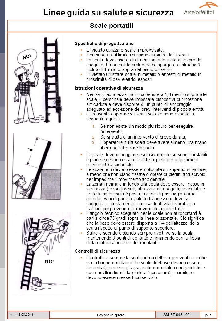 Linee guida su salute e sicurezza AM ST 003 - 001 p. 1 v. 1 18.08.2011 Lavoro in quota Scale portatili Specifiche di progettazione E vietato utilizzar