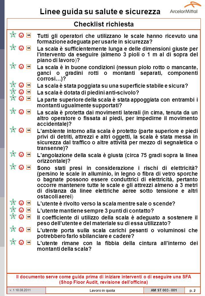 Linee guida su salute e sicurezza AM ST 003 - 001 p. 2 v. 1 18.08.2011 Lavoro in quota Checklist richiesta Tutti gli operatori che utilizzano le scale