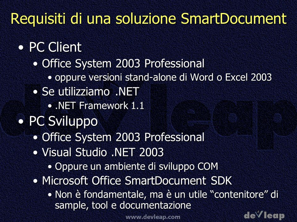 www.devleap.com Architettura Smart Document XML expansion pack DLL Assembly Office document Schema file Manifest file Altri assemblies