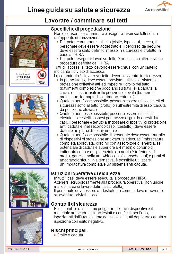 Linee guida su salute e sicurezza AM ST 003 - 010 p. 1 v.01 - 03-11-2011 Lavoro in quota Specifiche di progettazione Non è consentito camminare o eseg