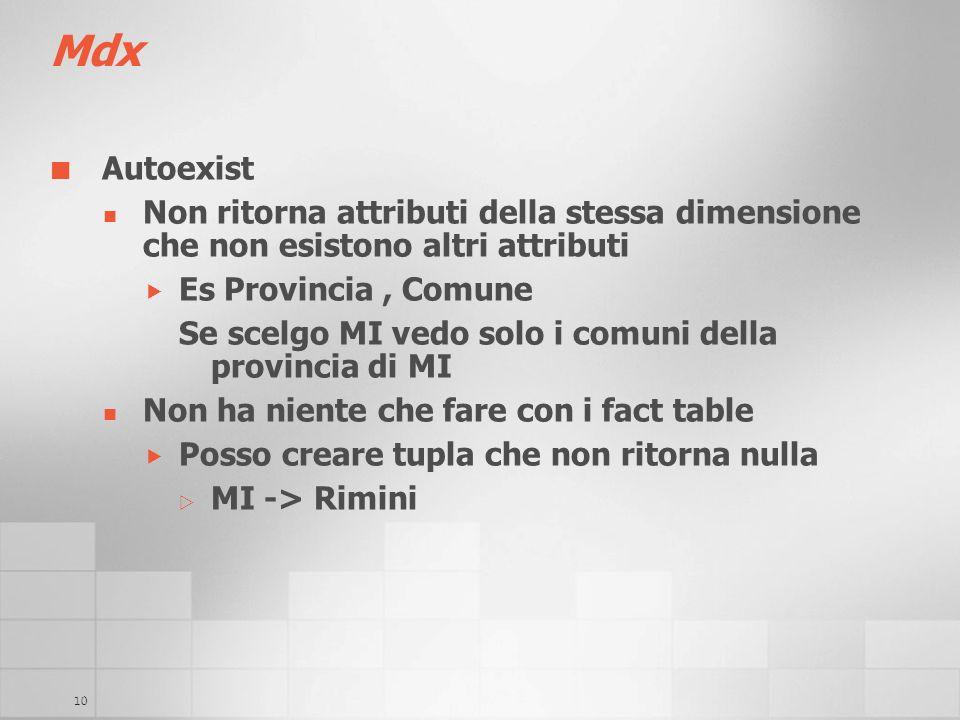10 Mdx Autoexist Non ritorna attributi della stessa dimensione che non esistono altri attributi Es Provincia, Comune Se scelgo MI vedo solo i comuni d